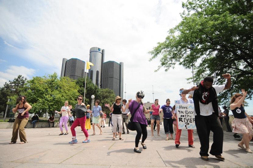 A group organized a Detroit hustle dance pop-up on the riverfront