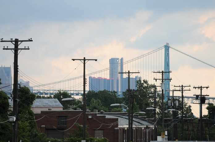 Downtown seen through the Ambassador Bridge from the Historic Fort Wayne