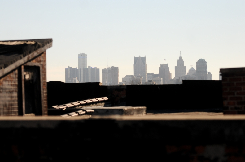 Downtown seen from Midtown atop the Forest Arms, an apartment building once abandon and  destroyed by a fire now set for renovation.