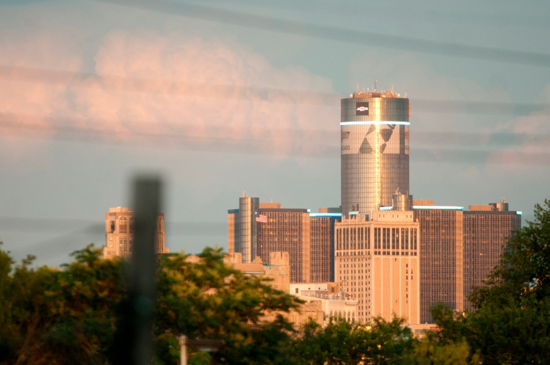 The Renaissance Center at sunset seen from the balcony of my house in the Historic Woodbridge  Neighborhood