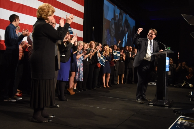 Democrat Gary Peters gives his victory speech at the Michigan Democratic Party Election Night at the MGM Grand Casino in Detroit Nov. 4, 2014. (Tanya Moutzalias/ MLive Detroit)