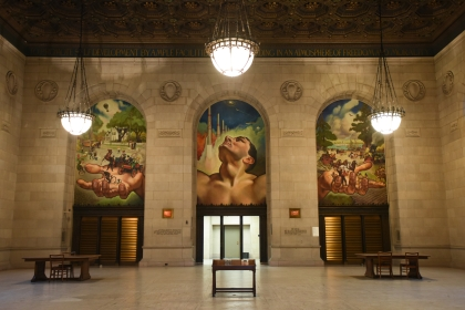 Man's Mobility, 1963 by John Stephens Coppin, depicts 3 eras of transportation, 1855 and 1905 and the future, 1965, in the Adam Strohm Hall of the Detroit Public Library's 1921-built main branch. The DPL is celebrating it's 150th anniversary March 25, 2015. (Tanya Moutzalias | MLive Detroit)