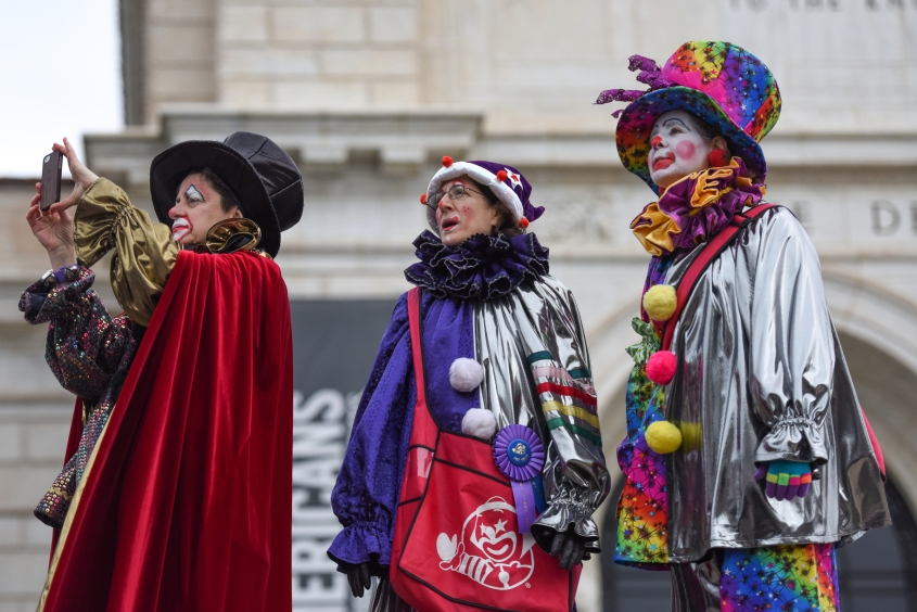 The 89th America's Thanksgiving Parade presented by Art Van marches down Woodward Ave. as the Parade Co.'s Distinguished Clowns snap a photo in Detroit's Midtown Thursday morning Nov. 26, 2015. (Tanya Moutzalias | MLive Detroit)